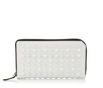 Carnaby Reisebrieftasche aus Satinleder in Weiß mit Sternen