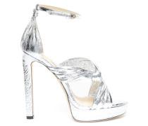 Abril 130 Sandalen aus silbernem Leder mit Metallic-Optik mit Lederrüschen