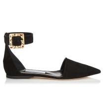 Halina Flat Flache Schuhe aus schwarzem Wildleder mit Juwelenschnalle