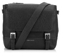 Lee/s Messenger Tasche aus schwarzem Satinleder und genarbtem Leder