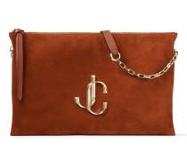 Varenne Shoulder/s Handtasche aus rostfarbenem Wildleder mit JC Logo