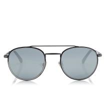 Dave Ovale Sonnenbrille in Schwarz und Silber mit verspiegelten Gläsern