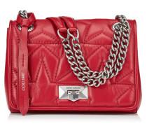 Helia Shoulder Bag/s Umhängetasche aus Nappaleder in Rot mit silberfarbenem Kettenriemen