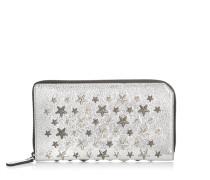 Carnaby Reisebrieftasche aus Glitzerleder in Champagner mit Sternen in Metallic und Stahl