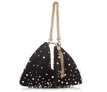 Callie Clutch aus schwarzem Wildleder mit Perlenstickerei