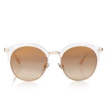 Hally Sonnenbrille in Weiß mit rundem Gestell und perforierten Sternen