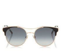 LUE Cat-Eye Sonnenbrille aus Metall in Kupfer und Gold mit schwarzen Lederdetails