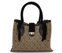 Marianne Shopper/s Handtasche aus schwarzem gewebten Raphiagewebe und Samt