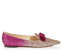 Gala Spitze flache Schuhe aus Glitzergewebe mit Dégradé in Gold und Pink