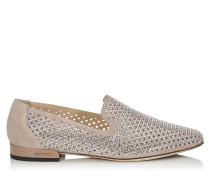 Jaida Flat Flache Schuhe aus mikroperforiertem Wildleder in Ballettrosa mit Hotfix-Kristall