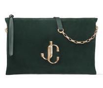 Varenne Shoulder/s Handtasche aus weichem dunkelgrünen Wildleder mit JC Logo
