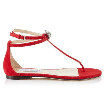 Afia Flat Flache Sandalen aus rotem Wildleder mit Kristallstück