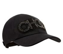 Reese Baseballkappe aus schwarzem Gewebe mit Choo Logo aus Kristall
