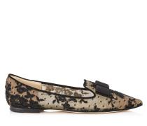 Gala Spitze flache Schuhe mit schwarzer Blumenspitze