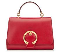 Madeline TOP Handle Handtasche mit Tragegriff aus Ziegen- und Kalbsleder in Rot mit Metallschnalle