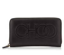 Bettina Große Brieftasche aus schwarzem Nappaleder mit Logo