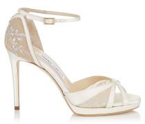 Talia 100 Sandalen mit weißer Spitze und elfenbeinweißem Satin