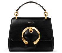 Madeline TOP Handle/s Handtasche mit Tragegriff aus Ziegen- und Kalbsleder in Schwarz mit Metallschnalle