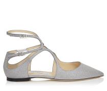 Lancer Flat Spitze flache Schuhe aus feinem silbernem Glitzerleder