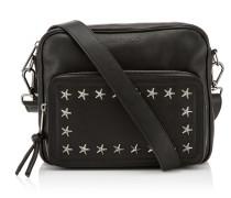 Luca Messenger Tasche aus schwarzem Biker-Leder mit grauen Sternen