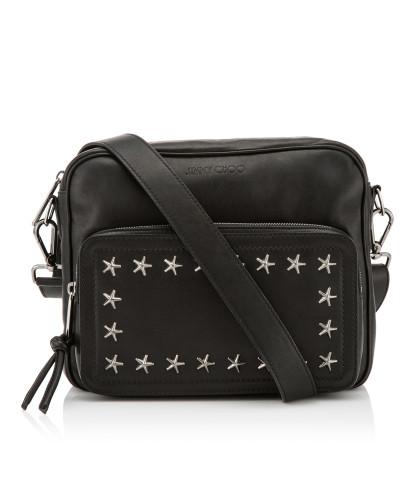 Mit Kreditkarte Super Angebote Jimmy Choo Herren Luca Messenger Tasche aus schwarzem Biker-Leder mit grauen Sternen Kaufen Sie Günstig Online Rabatt Original Asmmw6Kb2a
