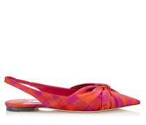Annabell Flat Spitze flache Schuhe mit Slingback-Riemen aus Check-Gewebe in Himbeer Mix
