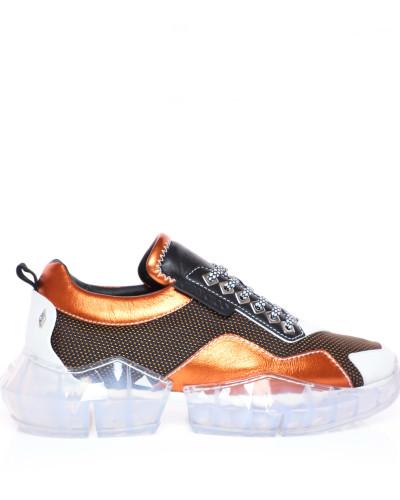 Diamond/m Sneaker aus bernsteinfarbenem Netzgewebe und Leder-Mix mit Plateausohle