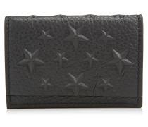 Bolton Geldbörse aus schwarzem genarbtem Leder mit geprägten Sternen