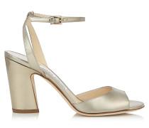 Miranda 85 Sandalen aus goldenem flüssigen Glanzleder