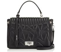 Helia Tophandle Handtasche aus schwarzem Matelassé-Nappaleder mit Stern-Design
