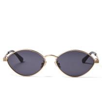 Sonny Ovale Sonnenbrille aus goldenem Metall mit Glitzerdetails