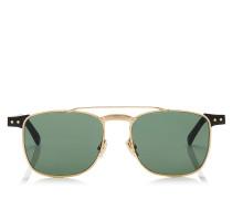 Alan Eckige Sonnenbrille mit grünen Gläsern und schwarzem Acetat mit gold-metallischem Gestell