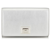Davine Mini-Tasche aus genarbtem silbernen Kalbsleder in Metallic-Optik