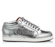 Miami Sneaker aus flüssigem Leder in Silber und schwarzem Reliefleder mit Logo