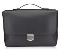 Heston Dokumenttasche aus schwarzem genarbtem weichen Kalbsleder