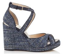 Alanah 105 Wedges aus Tweed in Dunkelblau-Mix mit Metallic-Optik