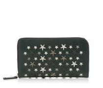 Carnaby Reisebrieftasche aus flaschenfarbenem Leder mit mehrfarbigen Metallsternen