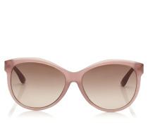 Glee Sonnenbrille in Nude mit Cat-Eye-Gestell und goldenem Lurex