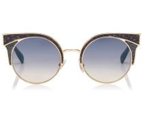 ORA Sonnenbrille mit Metall-Gestell und mehrfarbigen Lederdetails