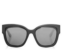 Roxie Oversize Sonnenbrille in Schwarz mit Sterndetails