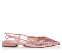 Gemista Flat Flache spitze Schuhe aus Wildleder und Galactica-Glitzergewebe in Zuckerwatte