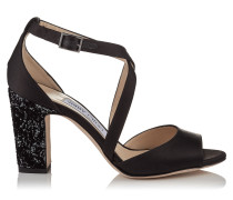 Carrie 85 Peeptoe-Sandalen aus schwarzem Satin mit glitzernem Velours-Dévoré auf dem Absatz