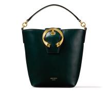 Madeline Bucket Handtasche aus dunkelgrünem Kalbsleder mit metallischer Schnalle