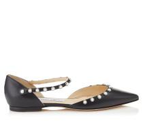 Leema Flat Flache spitze Schuhe aus schwarzem Nappaleder mit Perlen