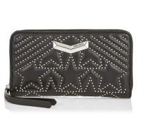 Nefer Portemonnaie aus schwarzem Nappaleder mit Stern-Matelassé und kleinen Nieten