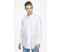 Popeline-Bluse mit seitlichen Knöpfen