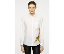 Bestickte Bluse aus Baumwoll-Popeline