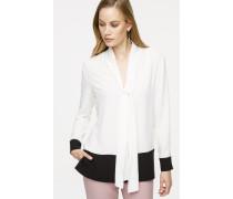 Bluse mit Schalkragen im Zweifarben-Design