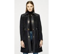 Mantel aus Veloursleder und Leder