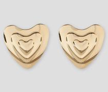 Goldfarbene Herzohrringe